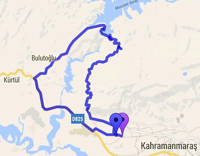 Menzelet Bisiklet Turu Rotası