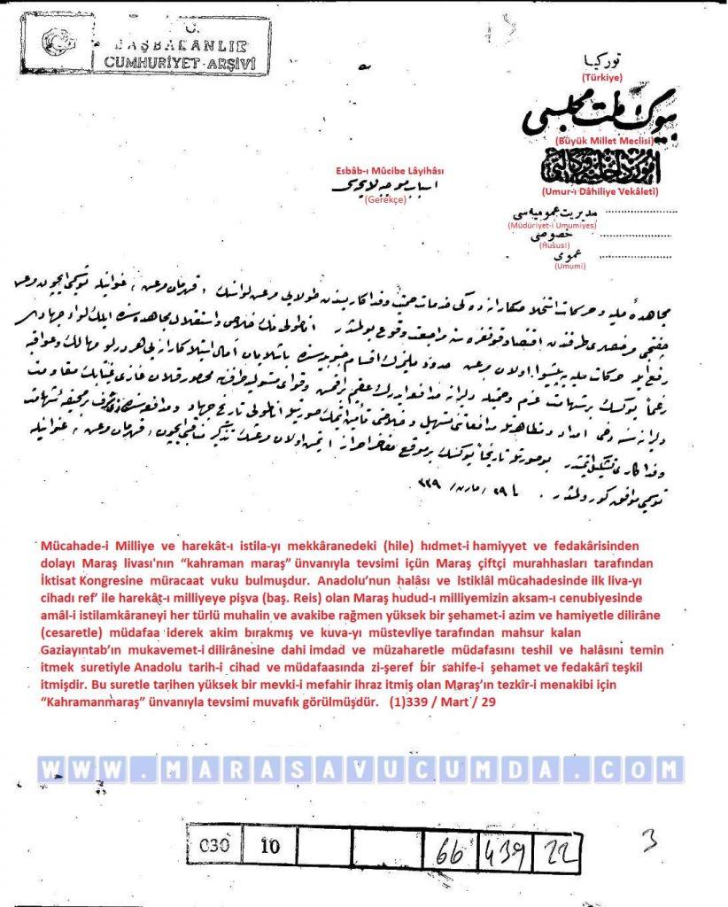 Maraş iline Kahraman unvanı verilmesine ilişkin kanun teklifinin gerekçesi