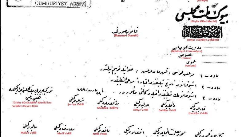 Maraş iline kahraman unvanı verilmesini öngören 1923 tarihli kanun teklifi