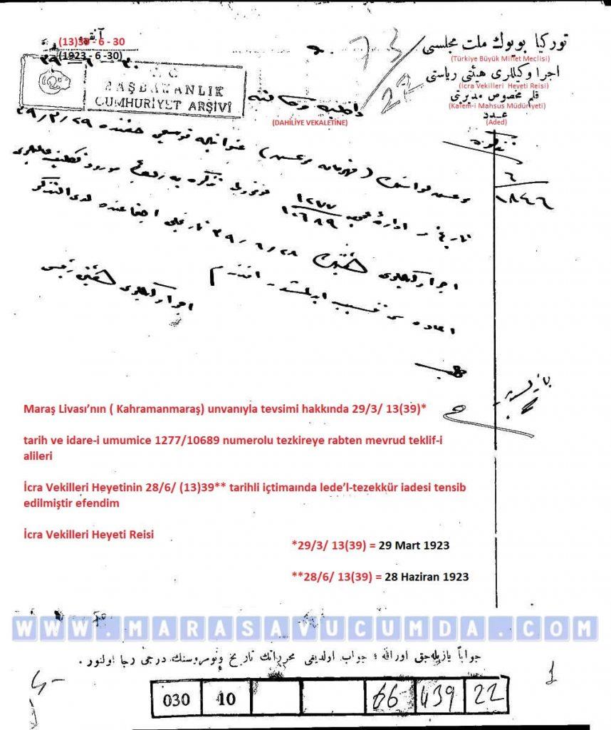 1923 tarihli kanun teklifinin İcra Vekilleri Heyetince reddedildiğine dair yazı