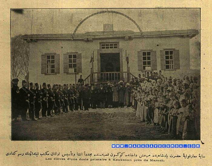 Servet-i Fünun Dergisinin 21 Şubat 1901 sayısında Göksun'da Açılışı Yapılan İlkokul Fotoğrafı