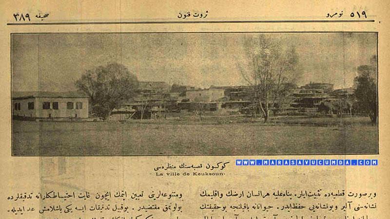 Servet-i Fünun Dergisinin 21 Şubat 1921 tarihli sayısında Göksun Manzarası başlıklı fotoğraf yer alıyor