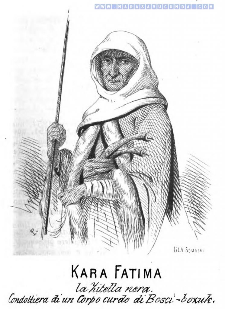 1854 yılında İtalya'da yayınlanan Kırım Savaşı'nın En Önemli Adamları isimli kitapta yer alan Kara Fatma Portresi