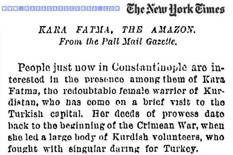 8 Kasım 1887 tarihli New York Times gazetesinde Kara Fatma haberi