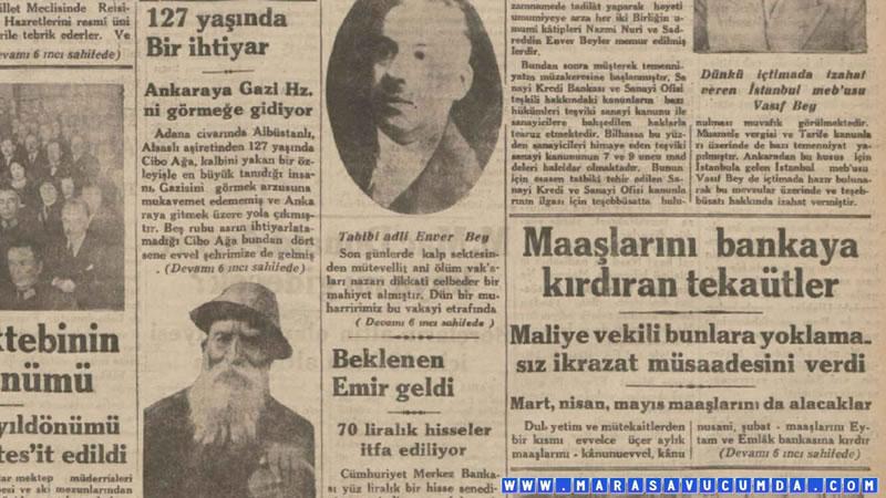 5 Aralık 1932 tarihli Milliyet Gazetesinde Cibo Ağa haberi