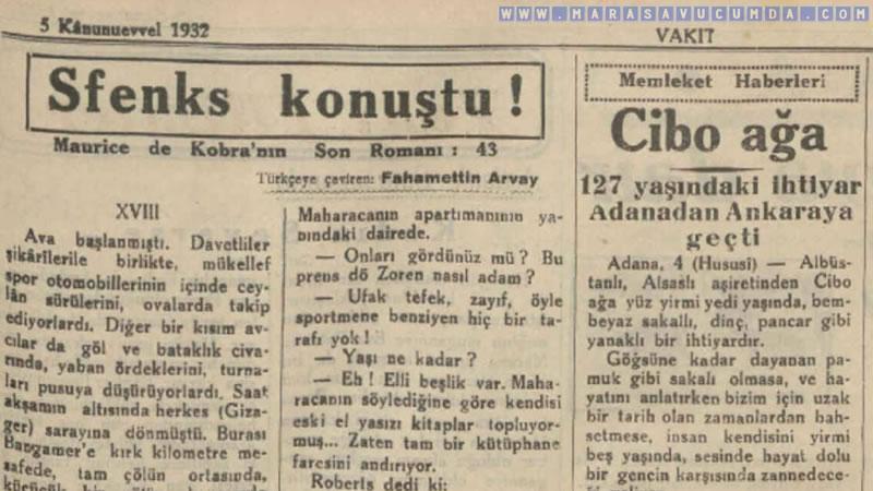5 Aralık 1932 tarihli Vakit gazetesinde Cibo Ağa haberi
