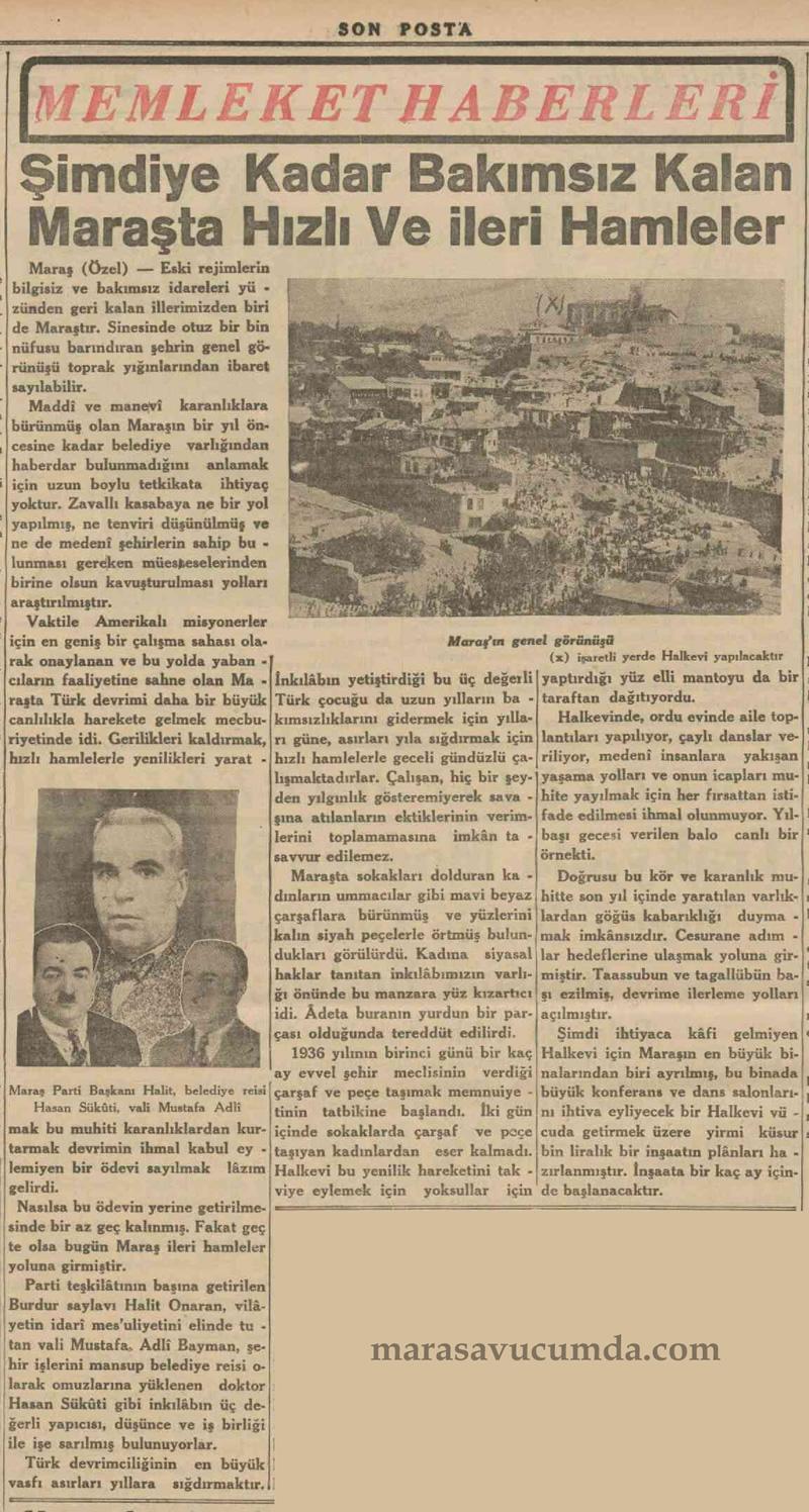 13 Ocak 1936 tarihli Son Posta Gazetesinde Maraş Haberi
