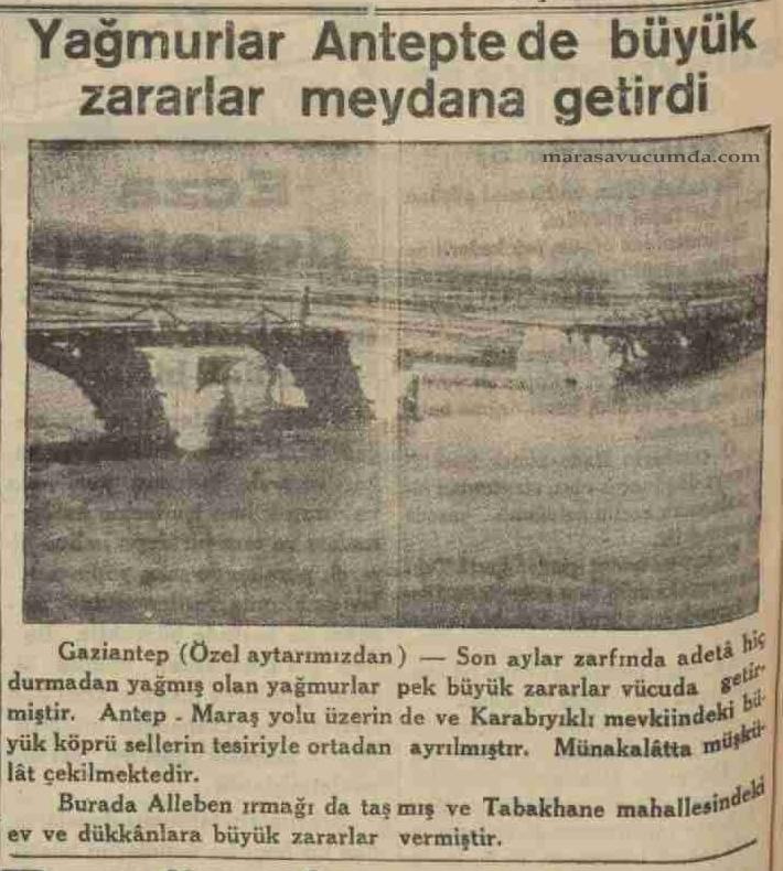 24 Şubat 1936 tarihli Akşam Postası gazetesinde selde zarar gören Karabıyıklı (Aksu) Köprüsü haberi