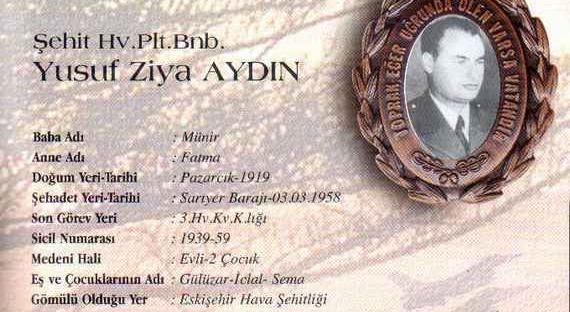3 Mart 1958 tarihinde RF84-F tipi uçağının havada aynı tip başka bir uçakla çarpışması sonucu şehit olan Pilot Binbaşı Yusuf Ziya Aydın.