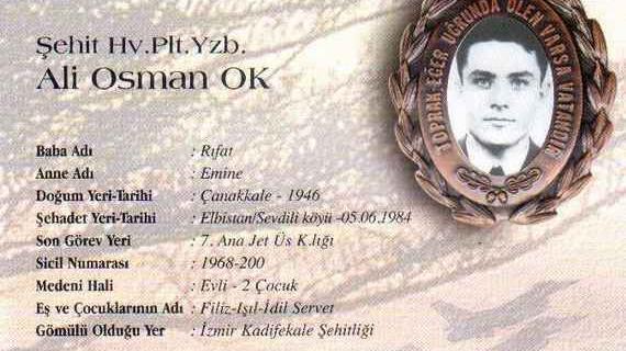 Şehit Pilot Yüzbaşı Ali Osman Ok