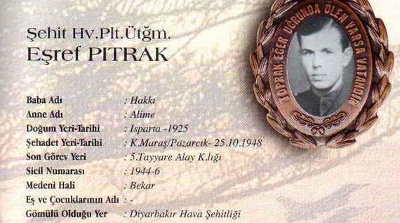25 Ekim 1948'de Kahramanmaraş Pazarcık yakınlarında uçağının havada bir başka uçakla çarpışması sonucu şehit olan Pilot Üsteğmen Eşref Pıtrak.
