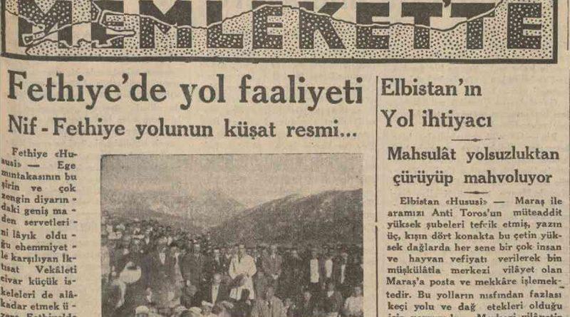 14 Şubat 1933 tarihli Cumhuriyet Gazetesi'nde Elbistan Yol ihtiyacı